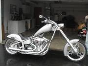 2004 BIG DOG CHOPPER MOTORCYCLE, SILVER IN COLOR, LIKE NEW